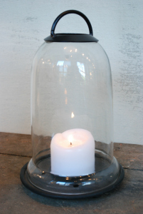 GLASS AND METAL BELL TOP CANDLE HOLDER