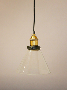 GLASS PENDANT WITH BRASS DETAIL