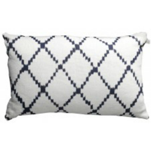 LINEN CUSHION IN BLUE AND OFF WHITE