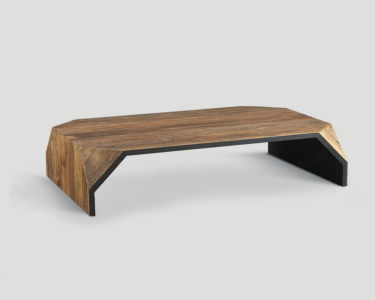 COFFEE TABLE IN A NATURAL FINISH WITH A GREY PAINTED UNDERSIDE