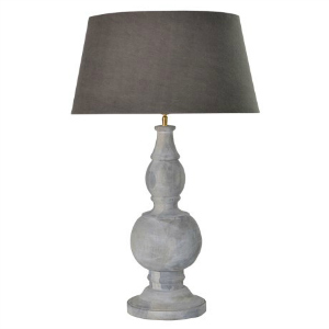 LAMP WITH GREY WOOD BASE AND DARK SHADE