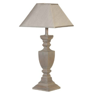 LAMP WITH GREY WOOD BASE