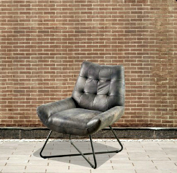 LEATHER ARMCHAIR WITH METAL BASE