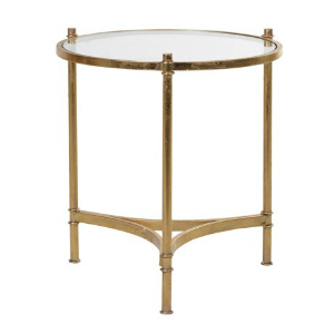 GOLD METAL TABLE WITH GLASS TOP