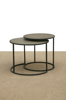 ROUND SIDETABLES WITH WOOD TOP AND METAL BASE