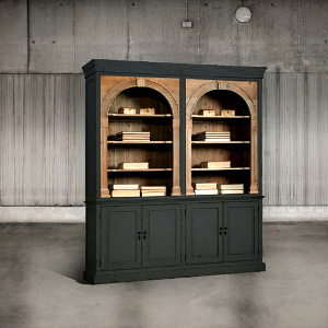 BOOKCASE WITH A BLACK PAINT AND WOOD FINISH