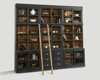 BOOKCASE WITH BLACK PAINTED WOOD AND GLASS DETAIL
