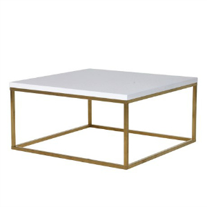WHITE GLOSS TOP COFFEE TABLE WITH BRUSHED BRASS BASE