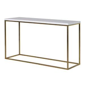 WHITE GLOSS TOP CONSOLE  WITH BRUSHED BRASS LEGS