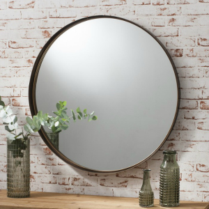 METAL FRAMED MIRROR IN A BRONZE FINISH