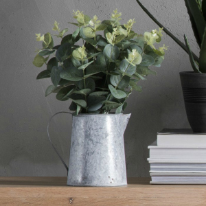 FAUX EUCALYPTUS IN GALVANISED JUG