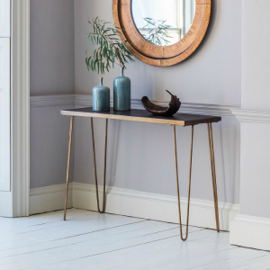 METALLIC TILE TOP CONSOLE WITH BRUSHED BRASS LEGS