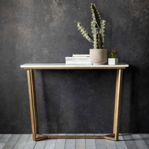 MARBLE TOP CONSOLE WITH BRUSHED BRASS LEGS