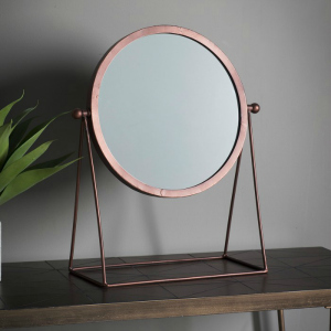 FUNKY TABLE TOP MIRROR IN A COPPER FINISH
