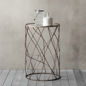 SIDETABLE WITH METAL FRAME AND MIRRORED TOP