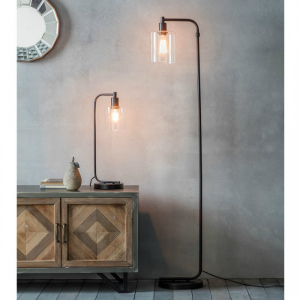 FLOOR LAMP WITH BLACK METAL BASE