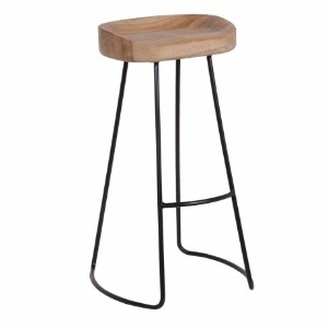 HIGHSTOOL SEAT IN WEATHERED OAK LEGS IN BLACK METAL