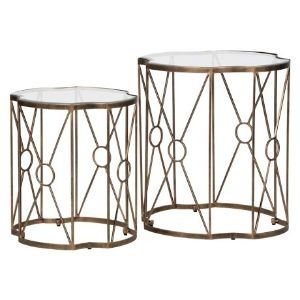 ANTIQUE STYLE BRASS SIDETABLES