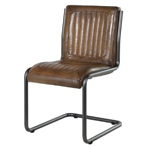 LEATHER AND METAL DESK CHAIR