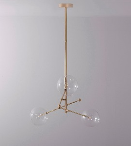 THREE ARM BRASS GLOBE CHANDELIER
