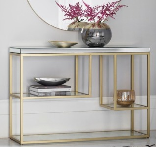 CONSOLE TABLE BRASS FRAME WITH MIRROR TOP AND GLASS SHELVES