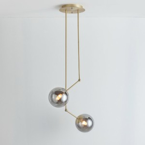 TWO ARM BRASS GLOBE CHANDELIER