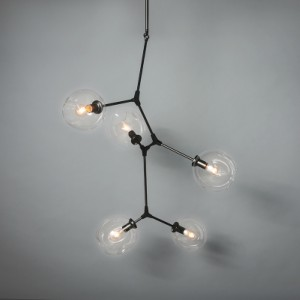 FIVE ARM METAL CHANDELIER WITH CLEAR GLASS GLOBES