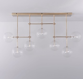 BRASS CHANDELIER WITH SEVEN GLOBES