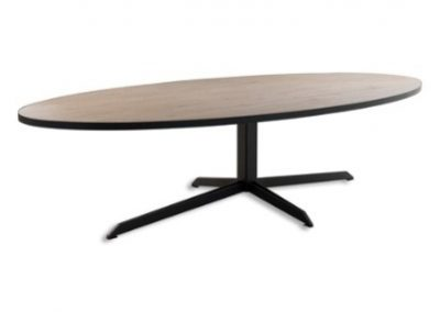 DINING TABLE WITH A WOOD TOP AND METAL BASE