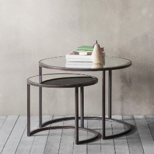 SIDETABLES WITH MIRRORED TOP AND METAL SURROUND