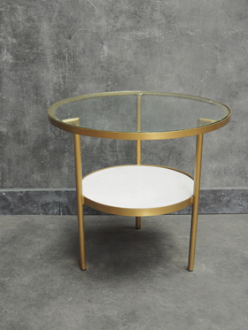 GLASS TABLE WITH BRASS FRAME AND MARBLE SHELF