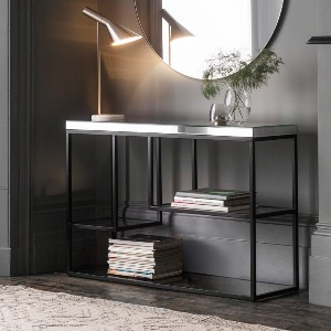 CONSOLE MIRRORED TOP BLACK METAL BASE GLASS SHELVES