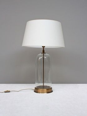 TABLE LAMP GLASS DOME ON BRASS BASE