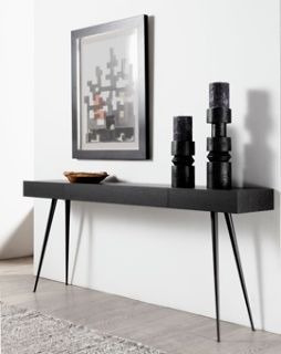 CONSOLE WITH WOOD TOP AND METAL LEGS
