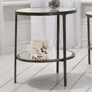 SIDETABLE WITH GLASS TOP AND SHELF