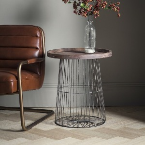 SIDETABLE WITH WOOD TOP AND METAL BASE