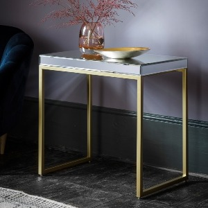 SIDETABLE WITH MIRRORED TOP AND BRUSHED BRASS FRAME