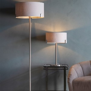 FLOOR AND TABLE LAMP WITH BRUSHED SILVER BASE AND SHADE PALE IN GREY