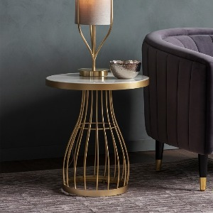 SIDETABLE WITH BRUSHED BRASS BASE AND MARBLE EFFECT TOP