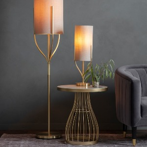 FLOOR AND TABLE LAMP WITH BRUSHED BRASS BASE