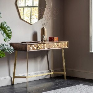 CONSOLE WITH INLAID BRASS