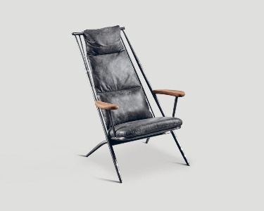 GREY LEATHER ARMCHAIR WITH METAL FRAME