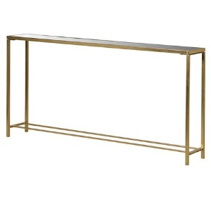 CONSOLE WITH MIRRORED TOP AND FRAME IN A GOLD FINISH