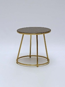 SMALL TABLE BRASS BASE WITH BLACK MARBLE TOP