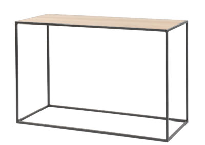 CONSOLE WITH OAK TOP AND METAL FRAME