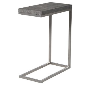 SIDETABLE METAL FRAME WITH FAUX SHAGREEN LEATHER TOP