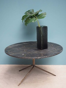 COFFEE TABLE BLACK MARBLE TOP WITH BRASS INLAY